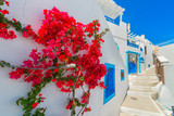 Greece Santorini island in Cyclades, traditional view of white w