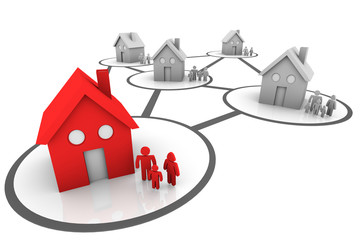 homes and families connected neighborhoods Grey and Red