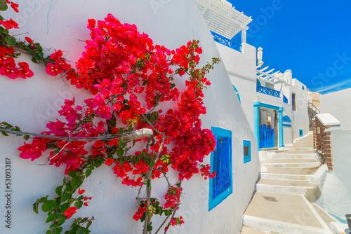Leinwanddruck Bild Greece Santorini island in Cyclades, traditional view of white w