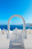 Greece Santorini island in Cyclades, traditional white washed vi