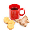 ginger root and a cup of tea