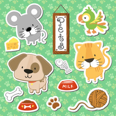 cute baby animals pets vector set