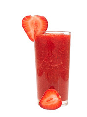 Strawberry cocktail in a glass on white background
