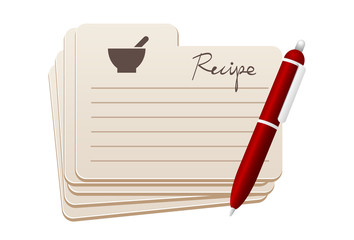 recipe card with red pen