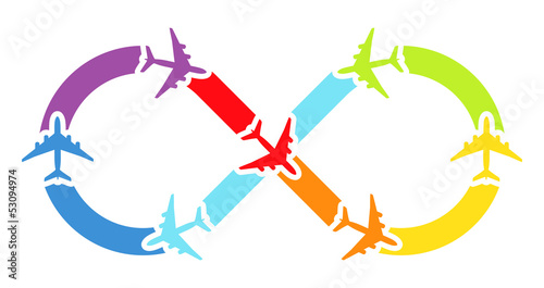 Rainbow airplanes infinity. Vector illustration.