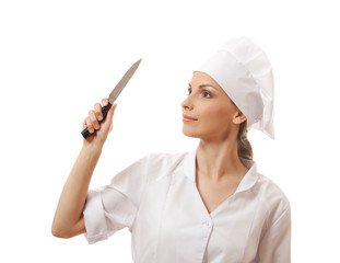 Woman cook holding a kitchen knife, isolated on white background