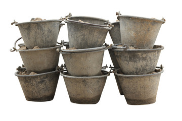 Sand in bucket for cement mixing isolated