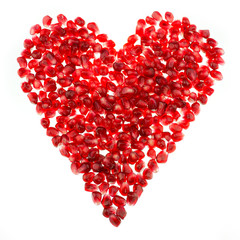 Love heart shaped pomegranate seeds