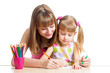 mother and her daughter pencil together