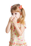 girl crying and  cleaning nose with tissue isolated on white