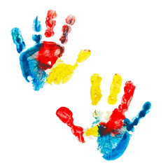 Multicolor prints of children's hands isolated on white