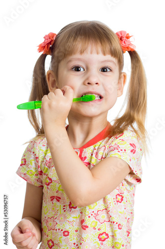 child girl brushing teeth isolated on white background