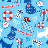 Seamless pattern with funny scottish terrier dogs  - sailors, an