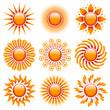 Sun Icons Set Orange/Red