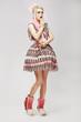 Fashion Style. Eccentric Woman in Trendy Dress. Amazement