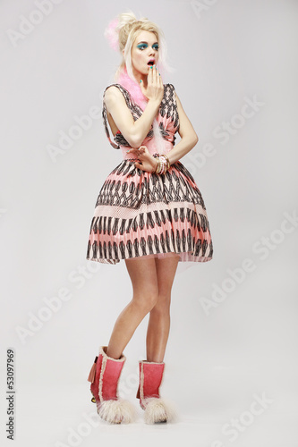Fashion Style. Eccentric Woman in Trendy Dress. Amazement