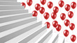 close-up white glossy stairs with red balloons on background