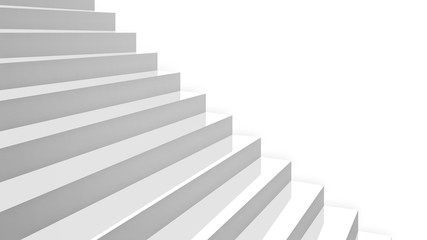 close-up white glossy stairs in diagonal perspective