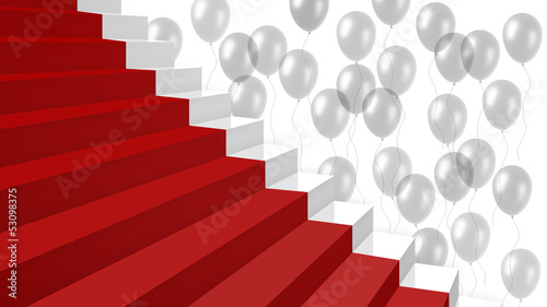 white stairs with red carpet and white balloons on background