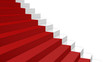 close-up white stairs in diagonal perspective with red carpet