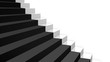 close-up white stairs in diagonal perspective with black carpet