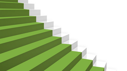 close-up grey stairs in diagonal perspective with green carpet