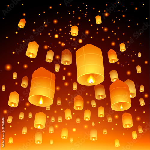 Thailand, Loy Krathong Festival, vector Eps10 illustration.