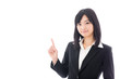 attractive asian businesswoman showing