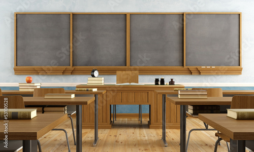 Vintage classroom without student