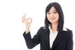 attractive asian businesswoman showing okay sign