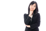attractive asian businesswoman thinking