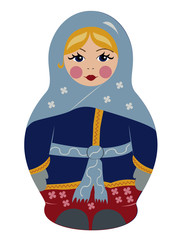 Bubushka doll in winter