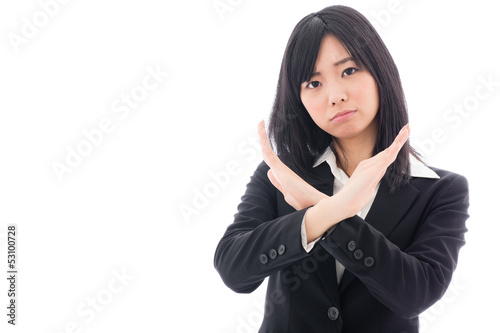 attractive asian businesswoman showing x sign