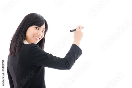 attractive asian businesswoman teaching