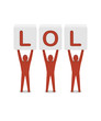 Men holding the word lol. Concept 3D illustration.