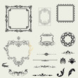 Vector set of decorative horizontal elements, border and frame