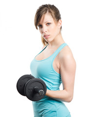 Blonde girl with dumbell