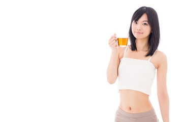 attractive asian woman drinking