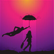 Man and women with umbrella, vector Eps10 illustration.