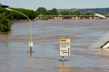 Road sign in water during inundation