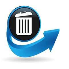 poubelle sur bouton flèche bleue