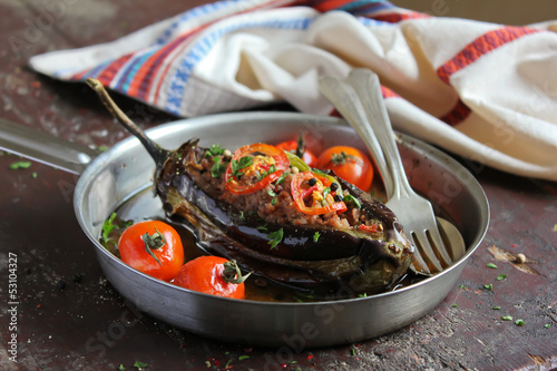 Eggplant stuffed with meat and assorted vegetables