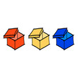 hand drawing colorful boxes