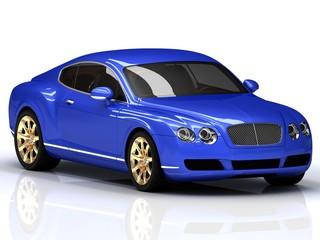 Premium blue car with gold wheels