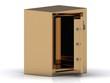 Safe deposit box in gold with the door open
