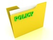 Policy bright green letters on a yellow folder with papers