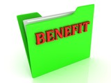 BENEFIT bright red letters on a green folder with papers