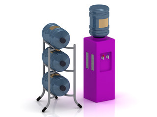 Lilac water cooler with bottles