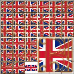 ABC alphabet characters UK flag font background