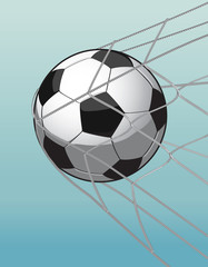 soccer ball in the goal net on the blue background.